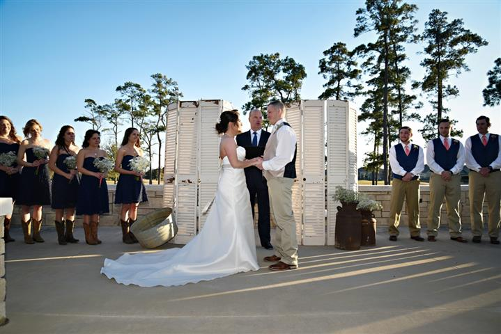 Unique ceremony setup for new bride and groom